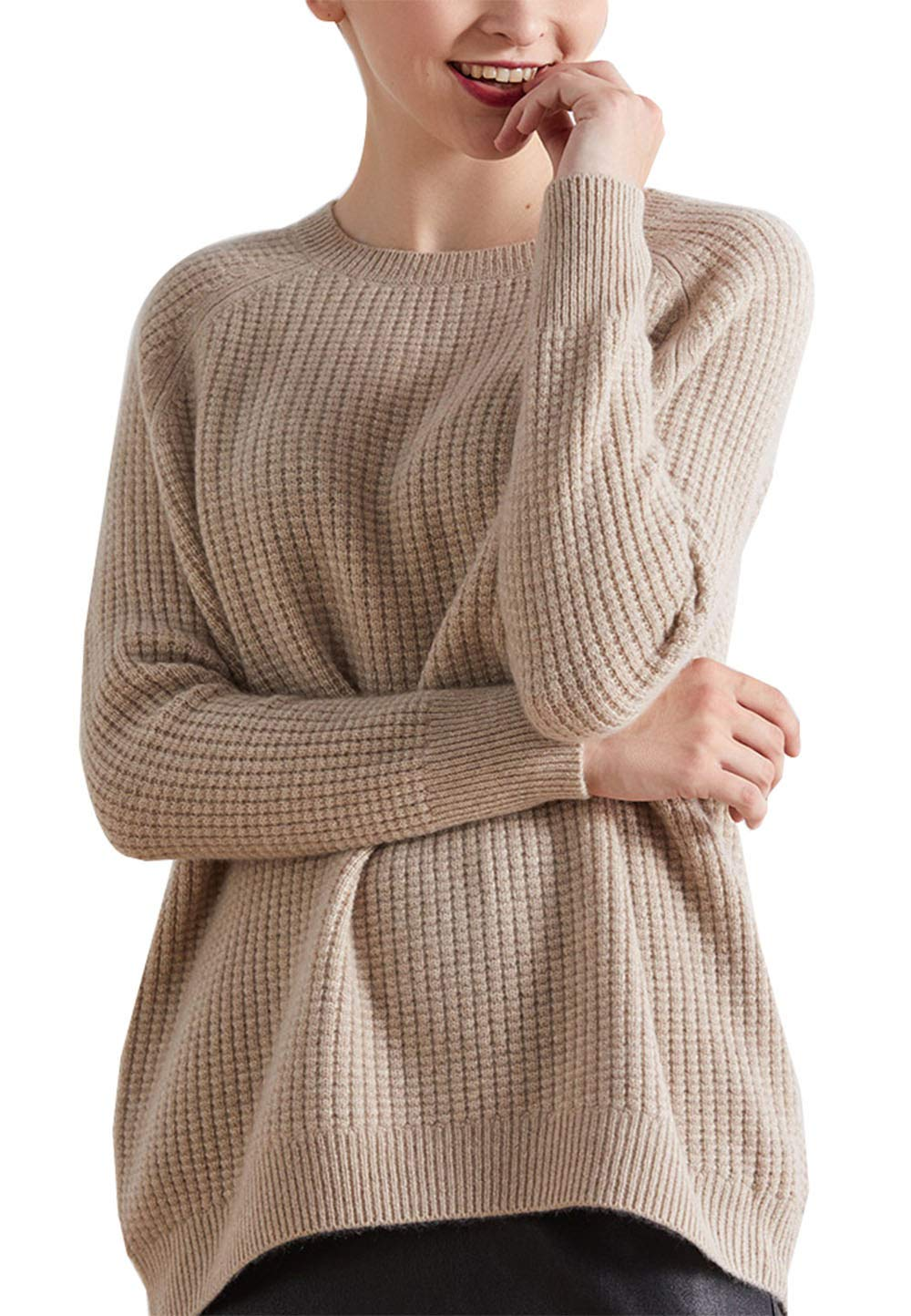 Womens Cashmere Solid Soft Cosy Loose Fit Thermal Chunky Crewneck Sweater Tops Sweatshirt Camel US 2
