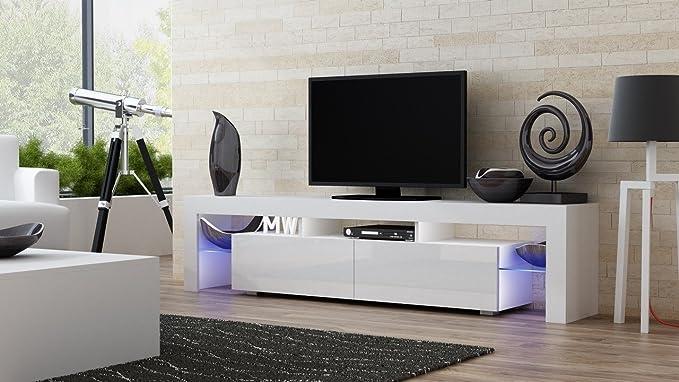 MILANO Mueble TV - Moderna mesa TV con estantes de cristal e ...