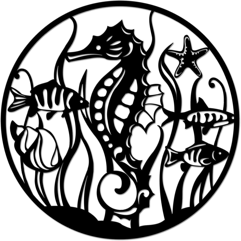 Kreative Arts Round Hanging Sculpture Sea Animal Metal Wall Decor Black Seahorse Metal Sculpture Wall Art for Home Decor 24x24