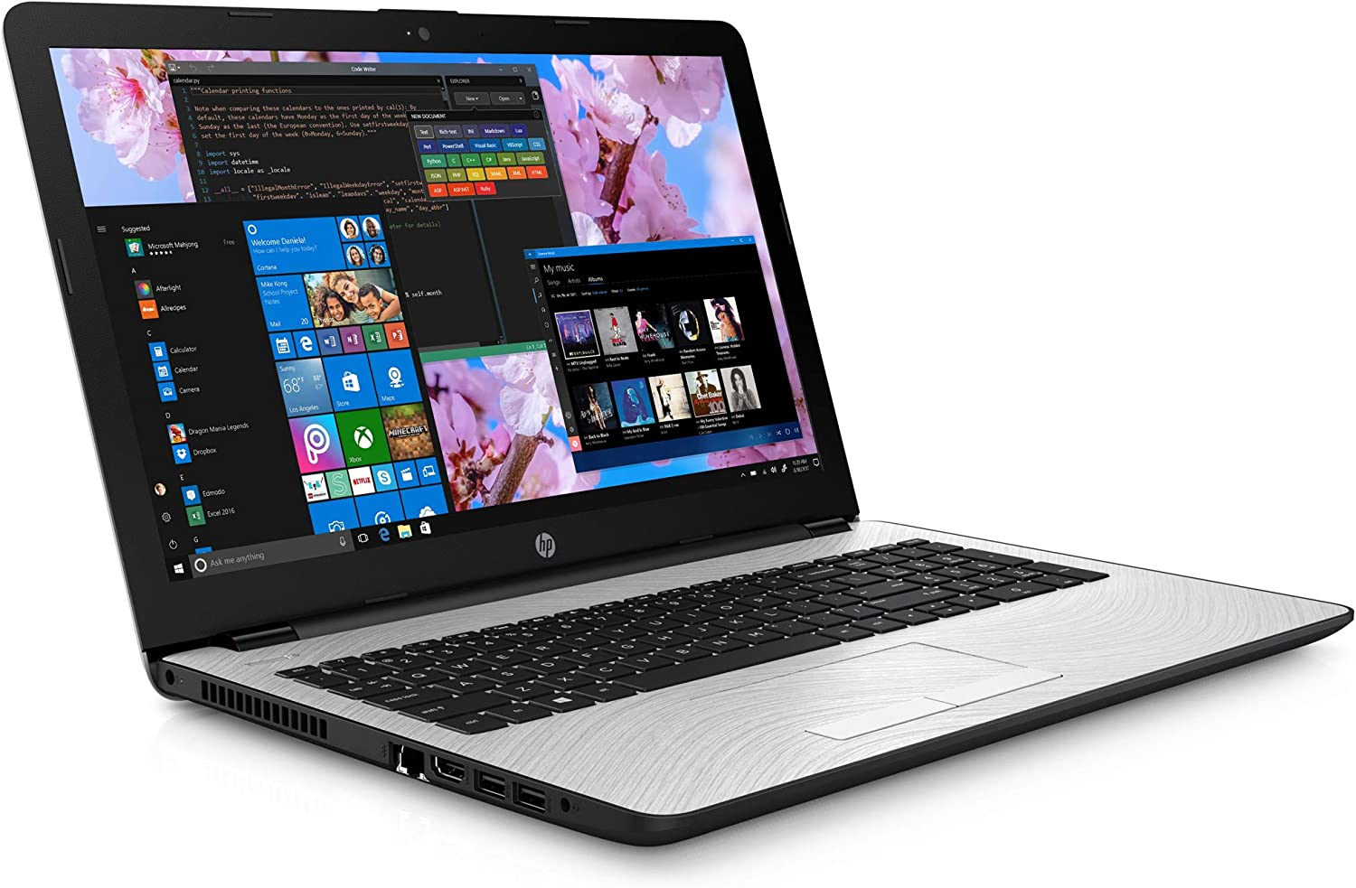 "HP 15 Notebook, 15.6"" SVA BrightView HD, Intel Dual-Core i3-7100U 2.4GHz, 4GB RAM, 256GB SSD, HDMI, Card Reader, Wi-Fi, Bluetooth, Windows 10 Pro"