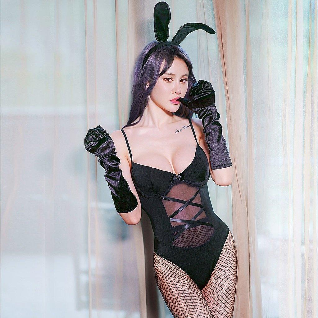 LQQGXL Sexy temptation nightdress nightclub sexy underwear uniforms female role-playing black fun suit Sexy underwear