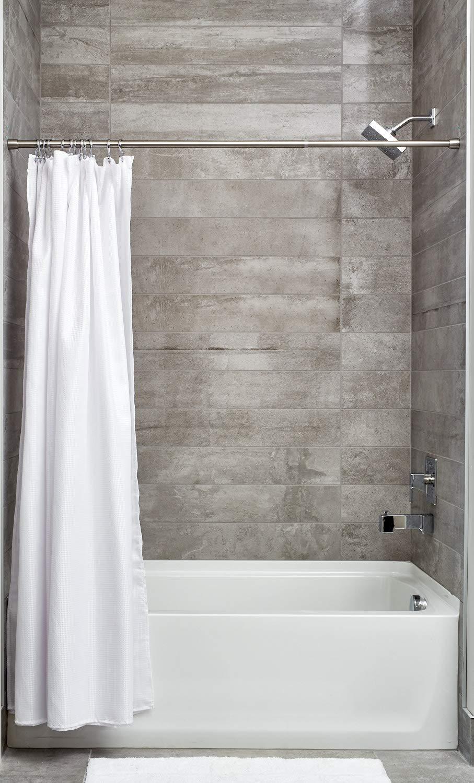 barra telesc/ópica extensible para instalar sin taladro soporte para cortinas de ba/ño de tama/ño largo y de acero iDesign Barra para cortinas de ducha plateado mate