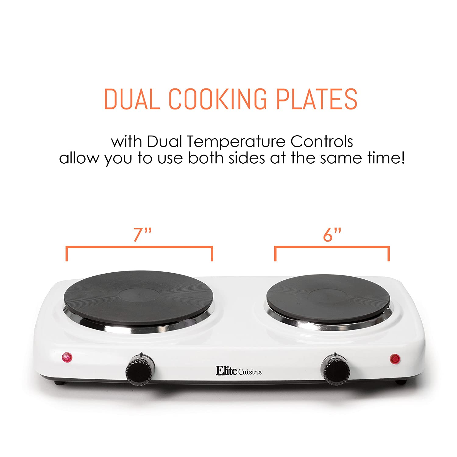 Elite Cuisine Edb 302f Maxi Matic Electric Double Buffet Induction Heater Circuit Hot Plate Cooker Homemade Burner With Dual Temperature Control White Kitchen Dining
