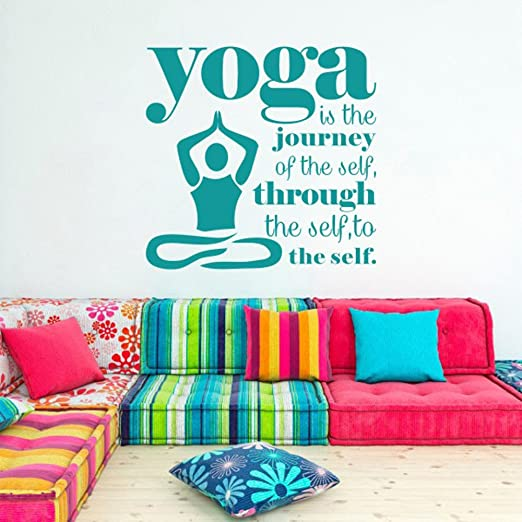 Amazon Com Mairgwall Yoga Studio Decor It Is The Journey Of The Self Home Living Vinyl Bedroom Decoration 44 H X46 W Teal Home Kitchen