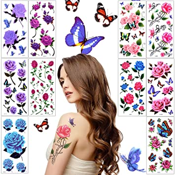 a0f248517 Lady Up Flower Temporary Tattoos Stickers for Women Teens Girls Kid 10  Sheets Muti-Colored