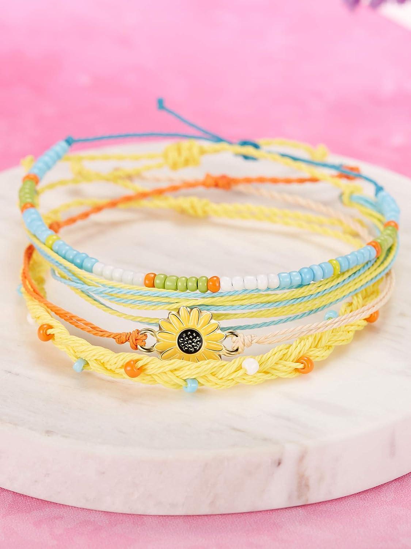 Blue, Orange meekoo 2 Sets Braided Rope Bracelets Handmade Sunflower Bracelets Beaded Boho Waterproof Bracelets Friendship Bracelets for Women Girls