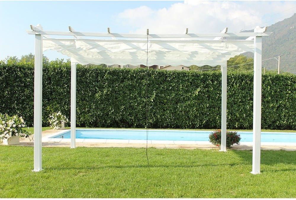 Cenador de jardín Astoria 3 x 4, tela de poliéster blanco y estructura blanca de metal: Amazon.es: Jardín