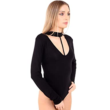335b395775fbb Womens Plain Choker Neck With String Long Sleeve Bodysuit BLACK Plus Size  (UK 16