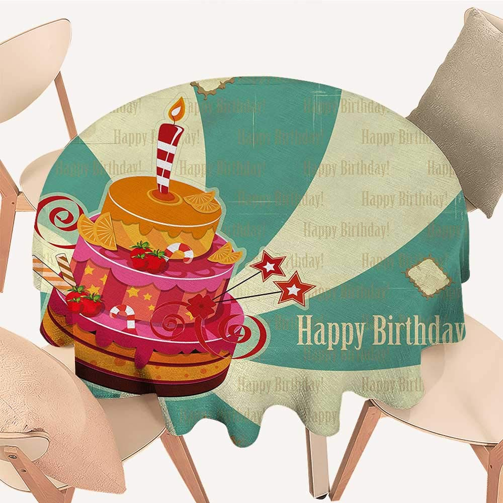 longbuyer 誕生日プリントテーブルクロス カラフルな落書き模様 ハッピーでお祝いのアイコン 子供と赤ちゃん用 マルチカラー D 50
