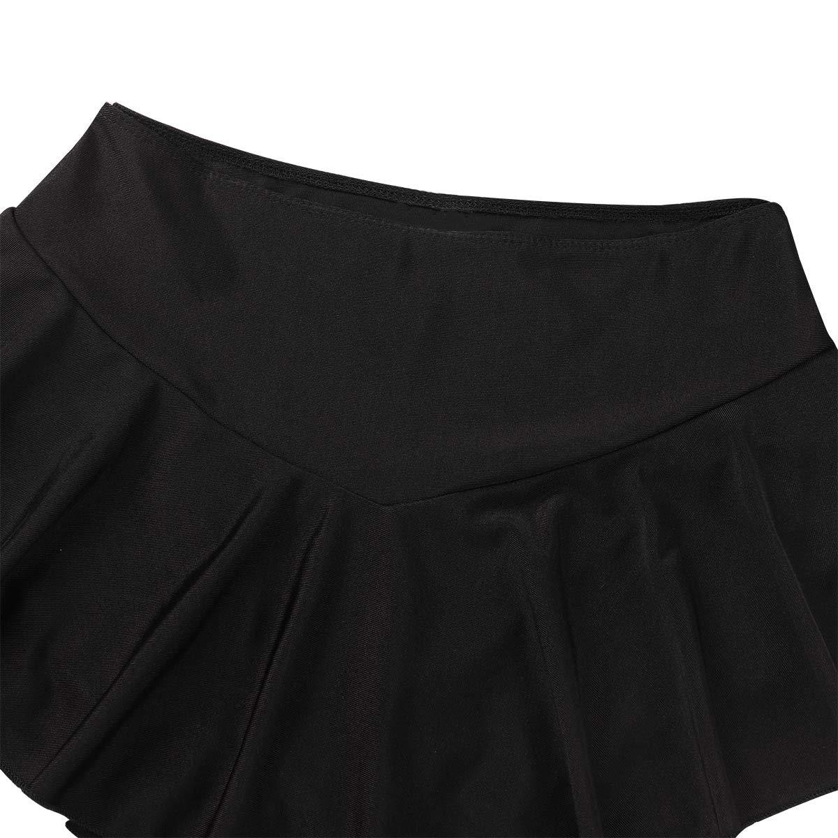 TiaoBug Figure Skating York Flare Skate Skirt for Women Adult Performance Costume Dance Short Skirt