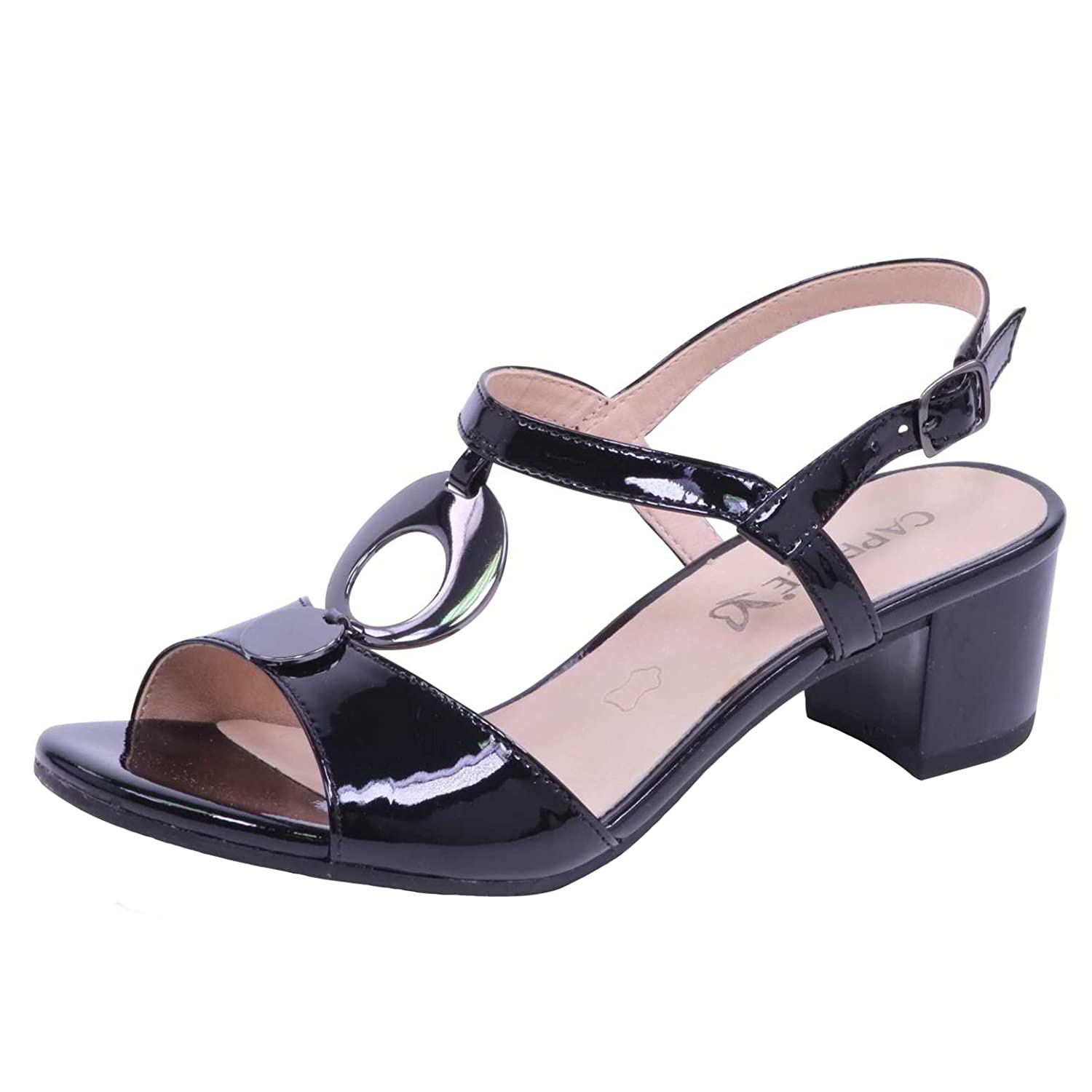 Caprice Galaxy Womens Strappy Block Heeled Sandals Mary Janes Straps Circle Pointed Toe Wedges Shoes Black