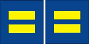 """Equality 2.75"""" Sign Support LGBT Love Pride Marriage Blue Yellow Reflective Decals Sticker Safety for Bumper Car 2 Packs"""