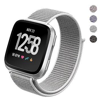 Correa de reloj deportivo PUGO TOP Fitbit Versa, correa de nailon trenzado ajustable, ligera