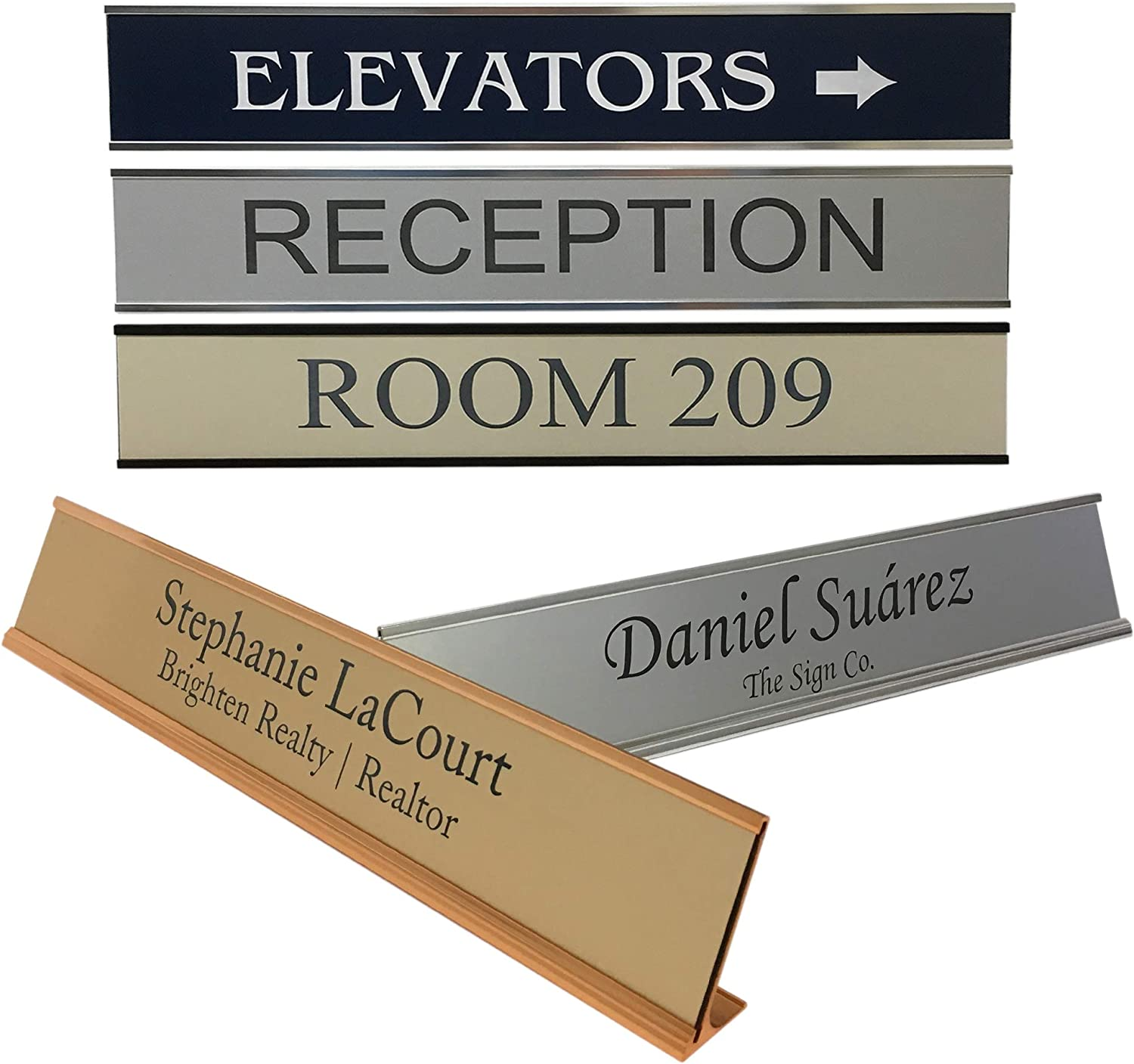Personalized Office Name Plate Sign with Aluminum Wall or Desk Holder - 2x12 - Customize