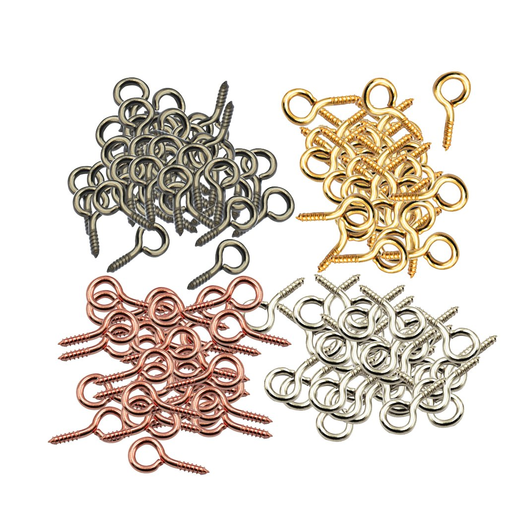 Jili Online 200pcs Small Screw Eyes Pins Eyepins Hanging Hooks Eyelets Threaded Hardware