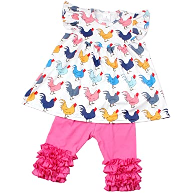 54b598545 Amazon.com: Baby Girls Chicken Print Flutter Sleeve Dress Ruffle Pants  Clothing Set Summer Boutique Outfits: Clothing