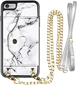 iPhone 6 Plus Wallet case, LAMEEKU iPhone 6s Plus Case with Credit Card Holder Slot Leather Case, Protective Cover with Crossbody Chain Wrist Strap for Apple iPhone 6 Plus/6s Plus 5.5