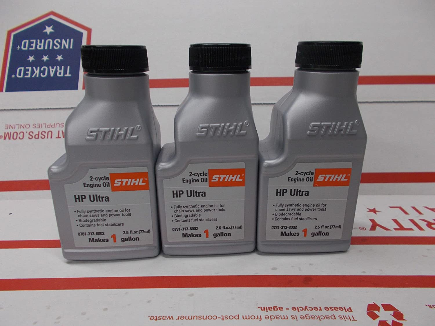 Stihl 3 Pack Synthetic Oil Mix 50:1 HP Ultra 2-Cycle 1 Bottle 2.6 oz = 1 Gal #G