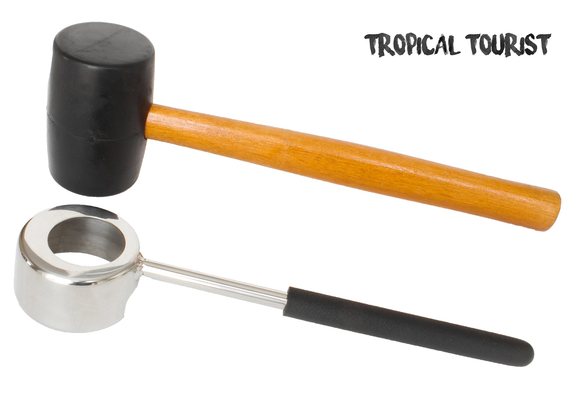 Coconut Opener Tool Set by Tropical Tourist - Food Grade Stainless Steel Opener with Wooden Mallet for Young Coconuts - Rubber handle grip - Easy, Safe & Long-Lasting Coconut Opener Design