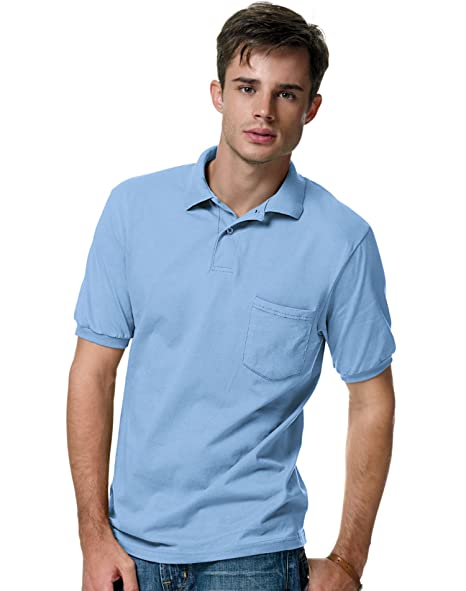 d8e7c4fecb0 Image Unavailable. Image not available for. Color: Hanes Adult Comfortblend  Ecosmart Jersey Polo With Pocket ...