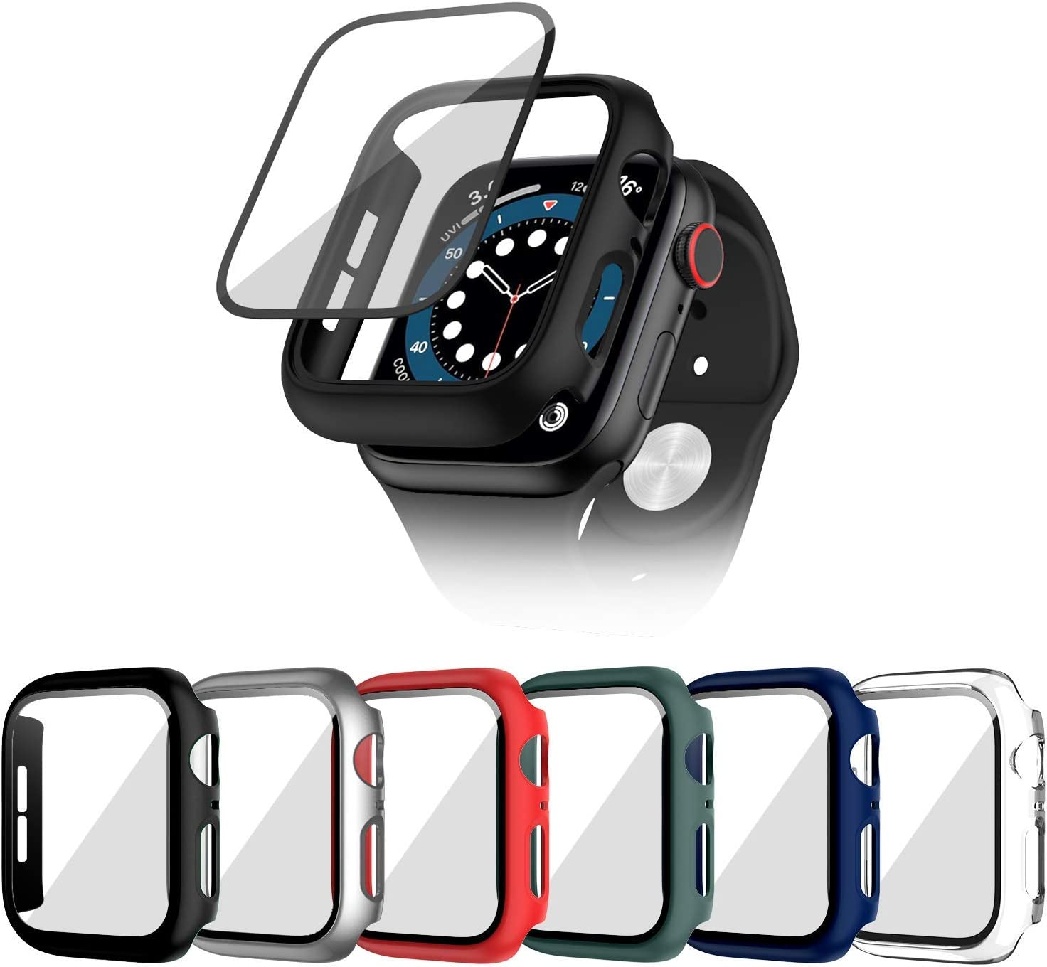 Cuteey 6 Pack for Apple Watch Series 3 42mm Hard Case with Built-in Tempered Glass Screen Protector, Overall Full Protective Bumper PC Cover for iwatch 3/2/1 42mm Accessories