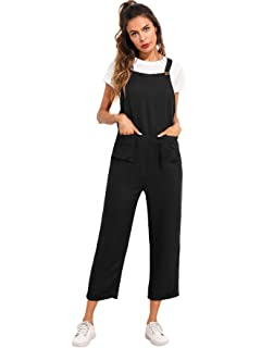 ce604855ae0e Verdusa Women s Sleeveless Straps Pockets Plaid Culotte Jumpsuit Overalls