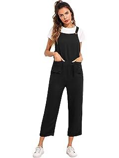 c96a8df40d68 Verdusa Women s Sleeveless Straps Pockets Plaid Culotte Jumpsuit Overalls