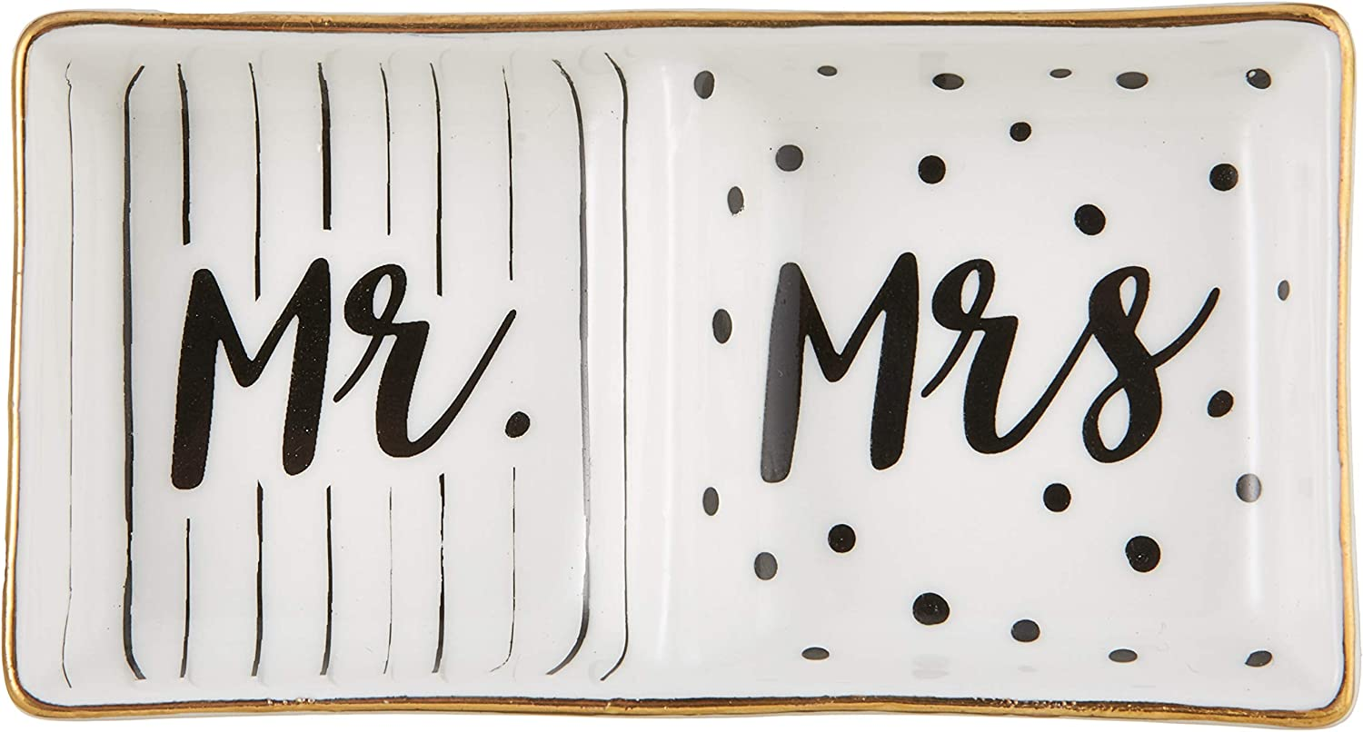 Kate Aspen Mr and Mrs Ring Dish, Wedding Gift, White and Black: Kitchen & Dining