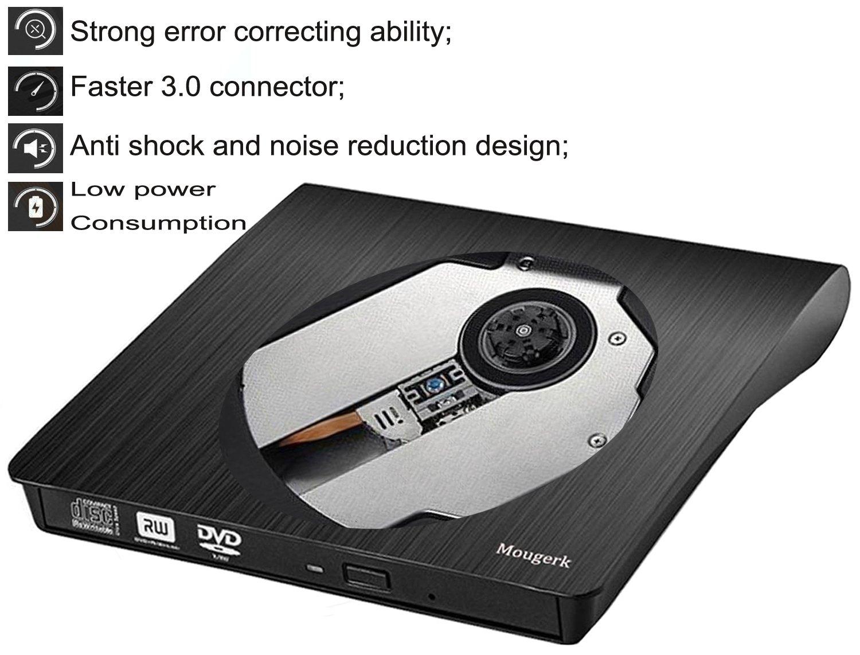External DVD CD Drive, Mougerk USB 3.0 Ultra Slim Drives CD DVD RW Player/ DVD CD ROM Drive / Writer / Rewriter / USB CD Burner For Mac Macbook Pro, Laptops Desktops by Mougerk (Image #1)