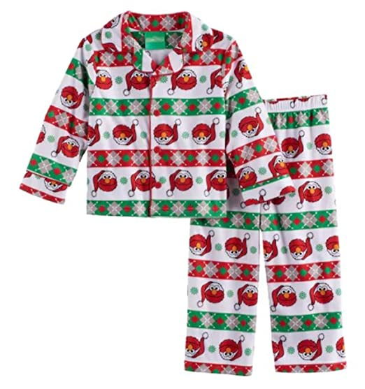 Sesame Street Elmo Boys Pajamas Holiday Santa Hat Pj Toddler Size (3T) e19aebe62