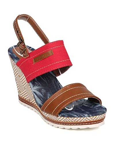 9154becbed70 Women Platform Wedge Sandal - Slingback Sandal - Basketweave Wedge Heel -  GI10 By Nature Breeze