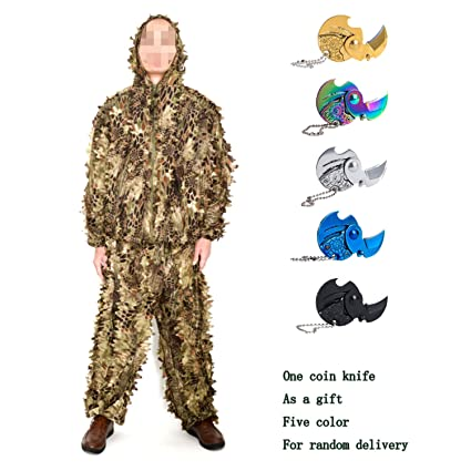 Amazon.com: Camuflaje Suits Ghillie Suits 3d Hojas Woodland ...