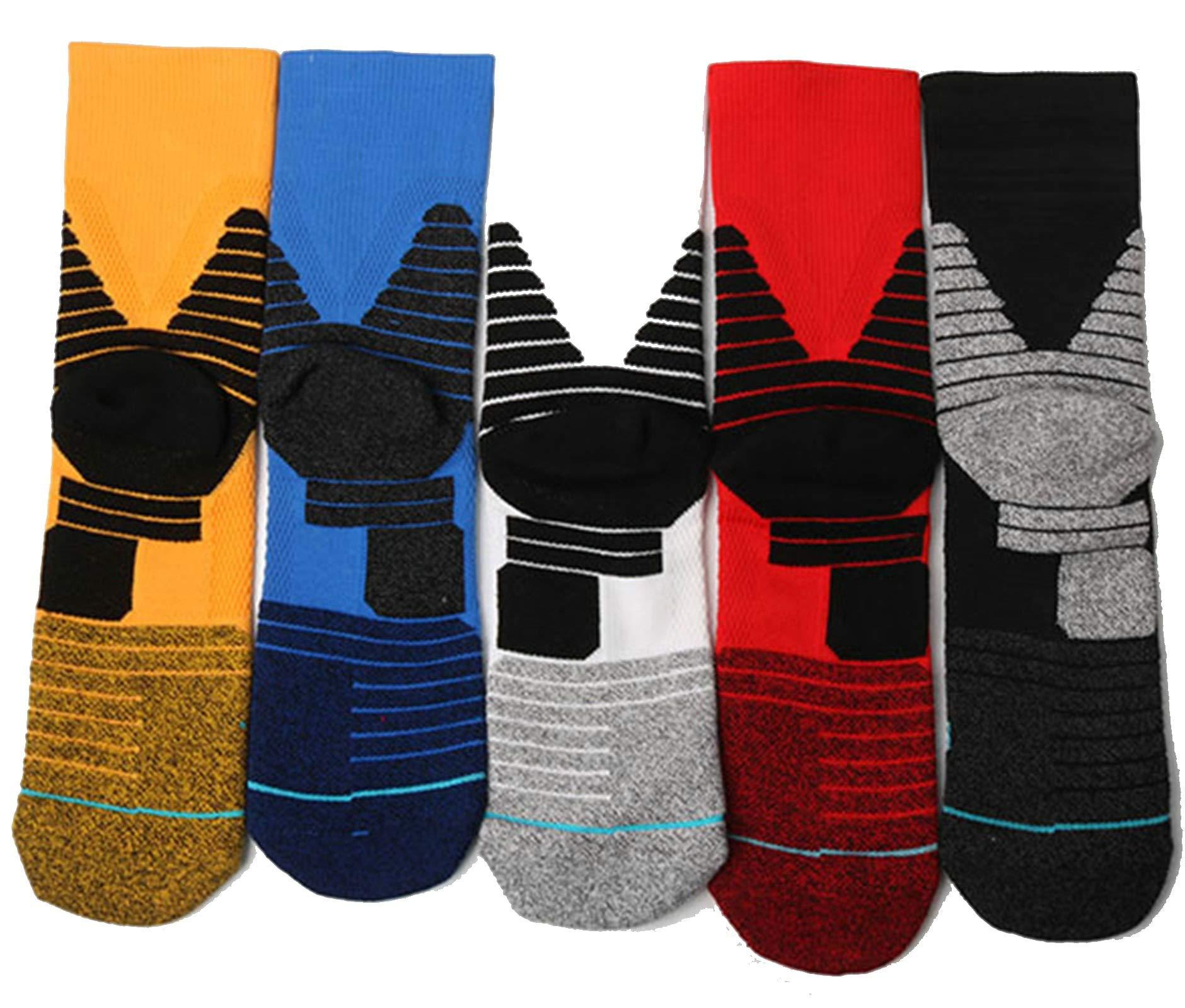 Thick Towel Bottom Basketball Socks Medium-Length Sports Socks Size L Code 5Pair