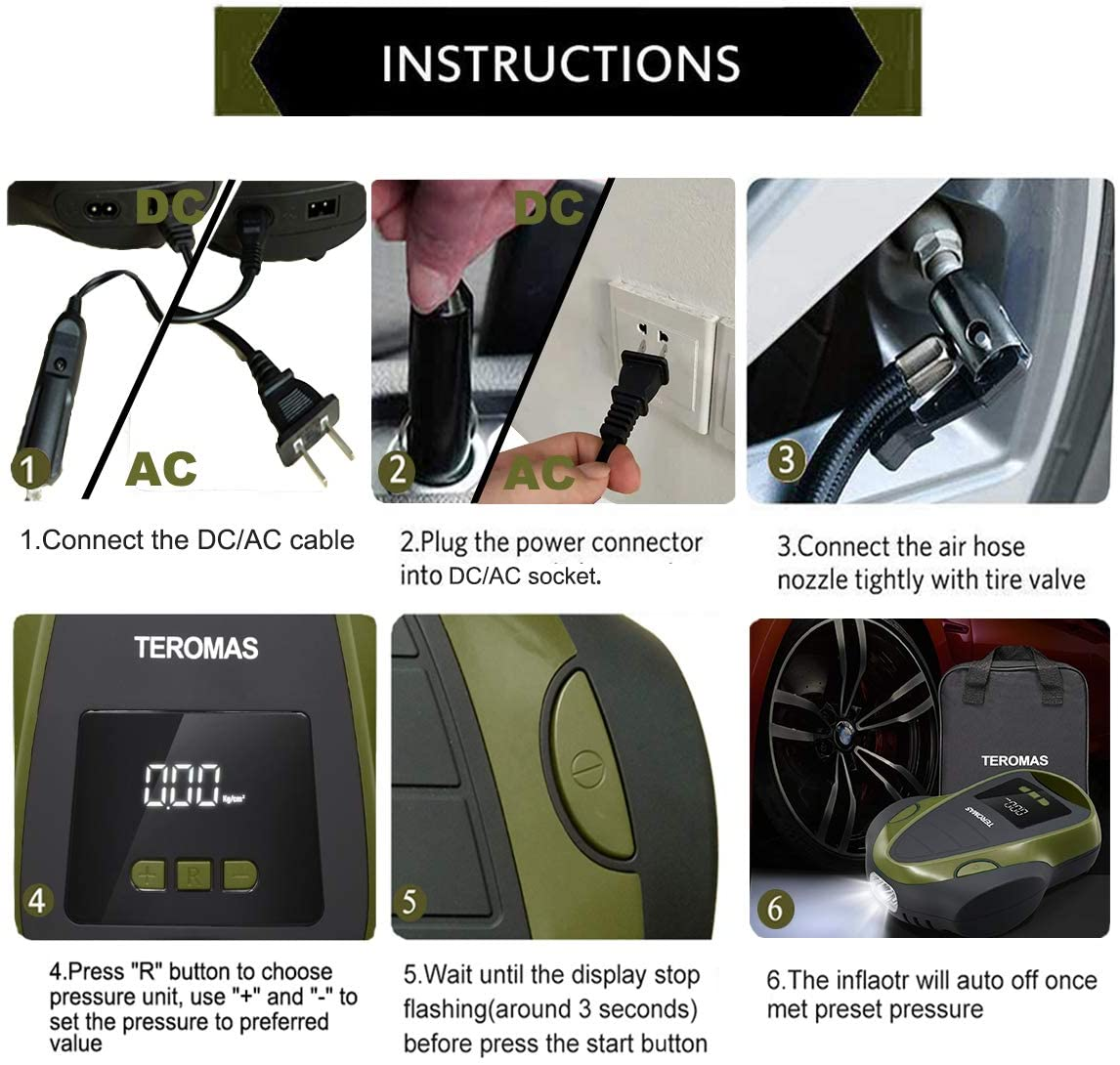 Portable DC//AC Air Pump for Car Tires 12V DC and Other Inflatables at Home 110V AC TEROMAS Tire Inflator Air Compressor Digital Electric Tire Pump with Pressure Gauge Green