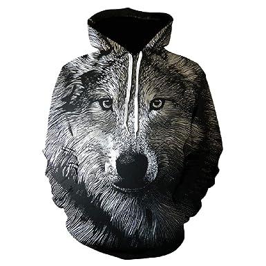Animal Sudaderas con Capucha de los Hombres Lobo 3D con Capucha ...