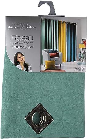 douceur dint/érieur rideau a oeillets carres 140x240 cm suede suedine sable