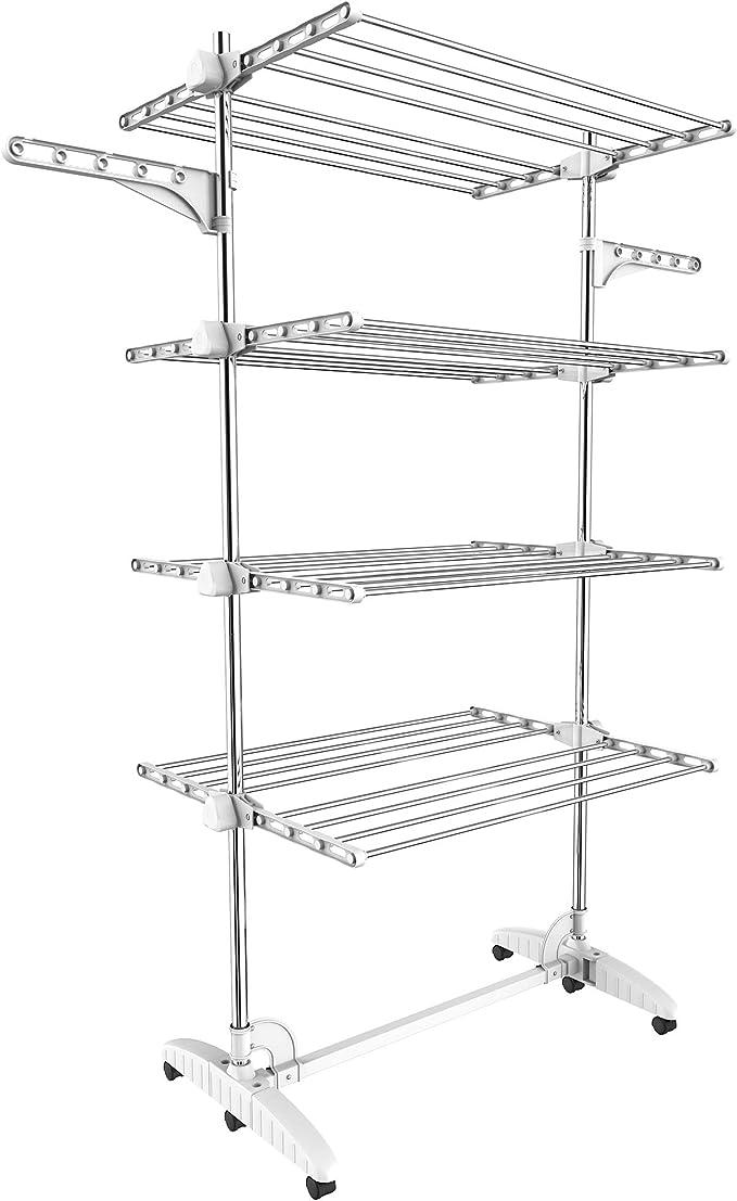 Todeco - Estante para Secado de Ropa, Tendedero - Material: Tubos de acero inoxidable - Carga máxima: 3 kg por barra de soporte - 4 estantes, Blanco, ...