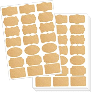 210pcs Brown Kraft Labels 7 Designs Blank Self Adhesive Sticker for Name Tags, Christmas Gift, Logo Stickers, Bottle, Candle, Gift Decoration, Handcraft, Holiday, Office, School, Travel, Funny Décor