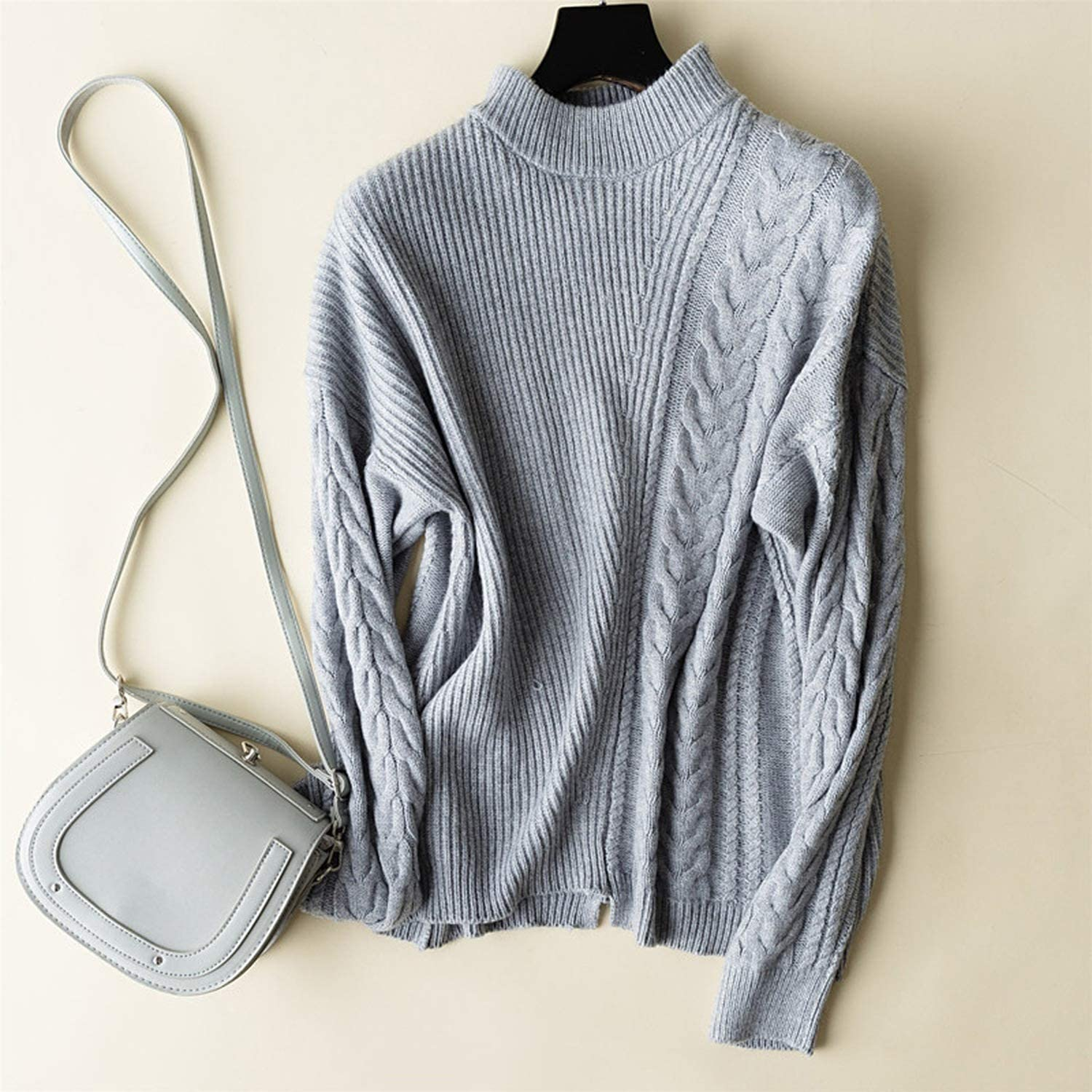 world-palm Double Thickening Loose Turtleneck Cashmere Sweater Female Knit Sweater Cashmere Pullover Sweater,Black,S