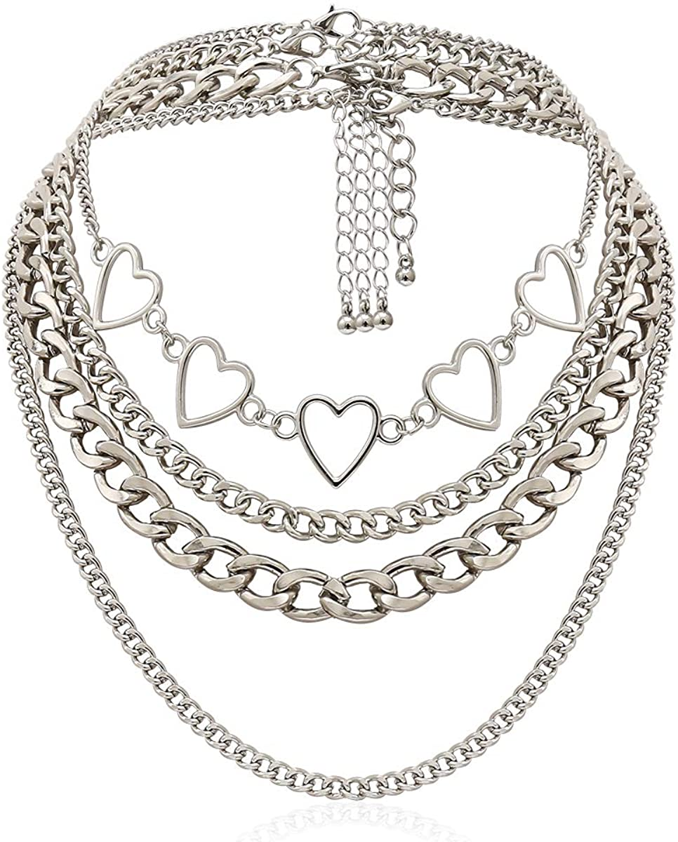Simple Hearts Necklace Lolita Choker Chain for Girls Women Layered Cuban Chunky Chain Necklace Chic Style Wedding Dress Jewelry (Silver 1)