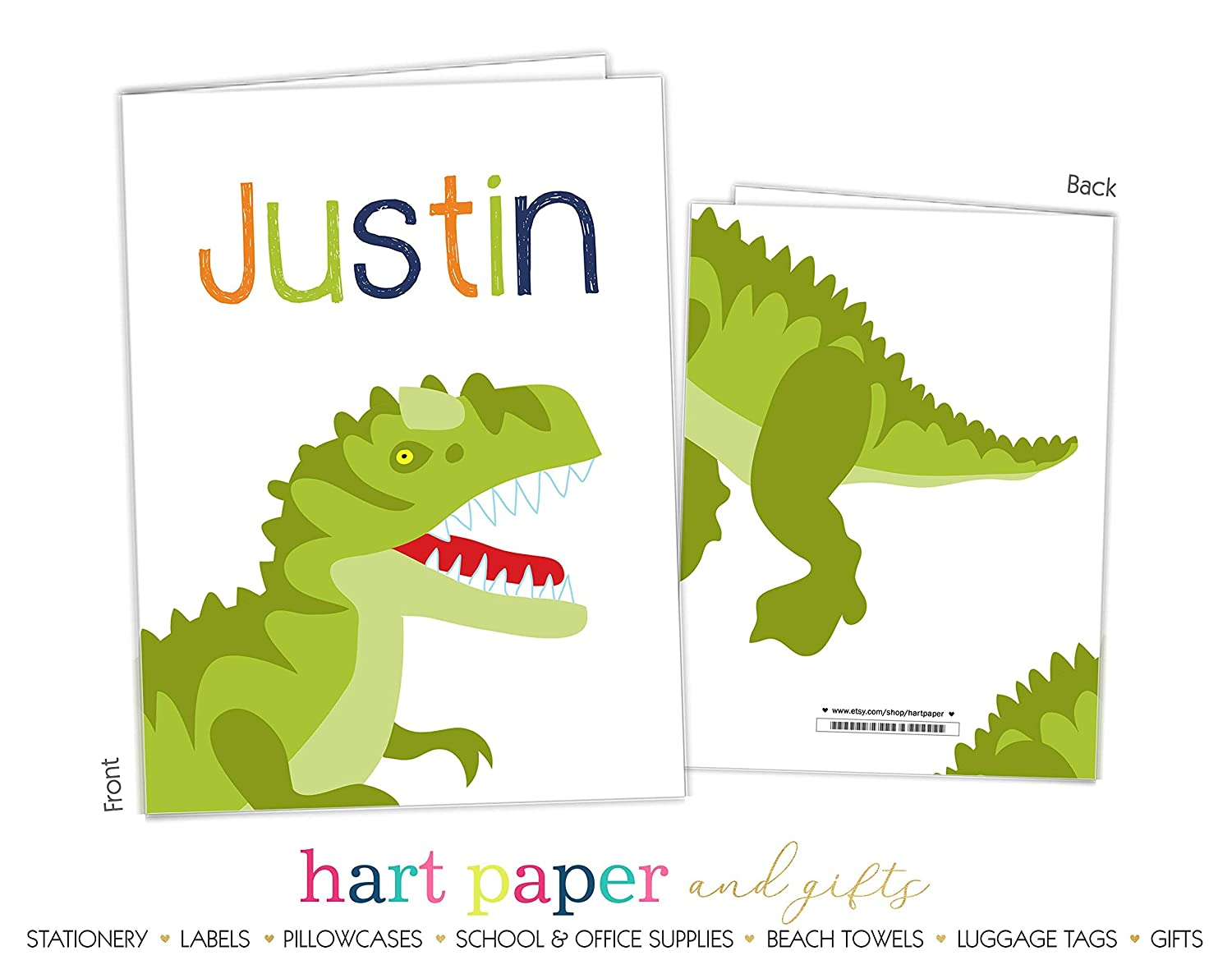 Dinosaur Dino T Rex 2 Pocket Folder Gift Name Back to School Supplies Teacher Office Birthday Girl Kids Custom Personalized Custom