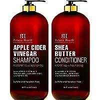 BOTANIC HEARTH Apple Cider Vinegar Shampoo and Shea Butter Conditioner Set - Color Safe - Sulfate Free Shampoo and Conditioner Set Reduces Itchy Scalp, Dandruff & Frizz - 16 fl oz x 2