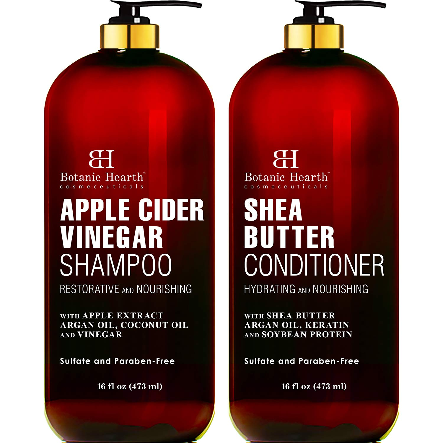 BOTANIC HEARTH Apple Cider Vinegar Shampoo & Shea Butter Conditioner Set, Color Safe, Sulfate Free Shampoo and Conditioner Set Fights Itchy Scalp, Dandruff & Frizz - (Packaging May Vary),16 fl oz x 2