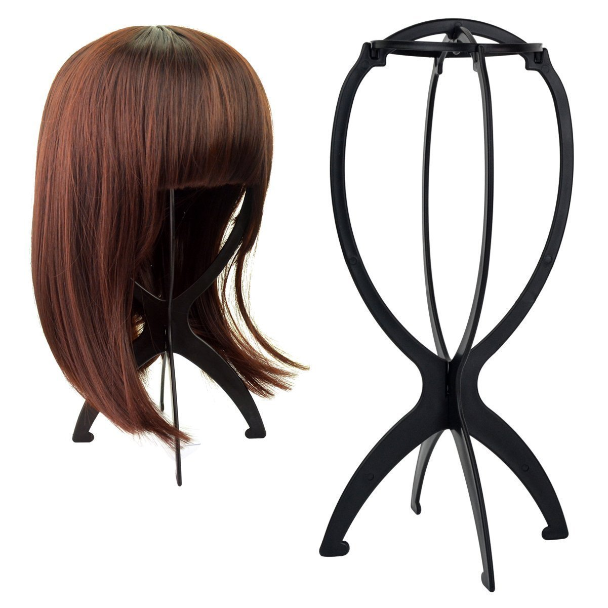 TOOTO Pack Of 6 Black Collapsible Wig Stand, ERPower Portable Wig Stand, Wig Dryer (6, Black)