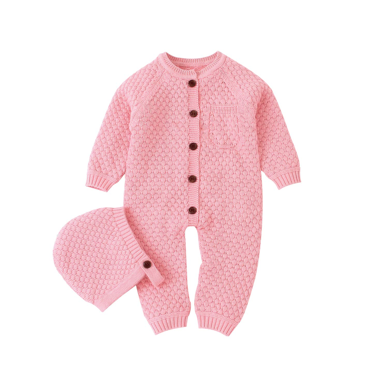 mimixiong Baby Newborn Knitted Sweater Romper Longsleeve Outfit Cotton Jumpsuit with Warm Hat Set