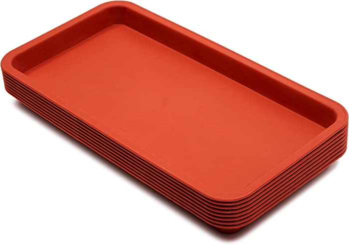 Juvale Rectangular Plant Saucer Drip Trays (12 x 6.5 in, 8 Pack)