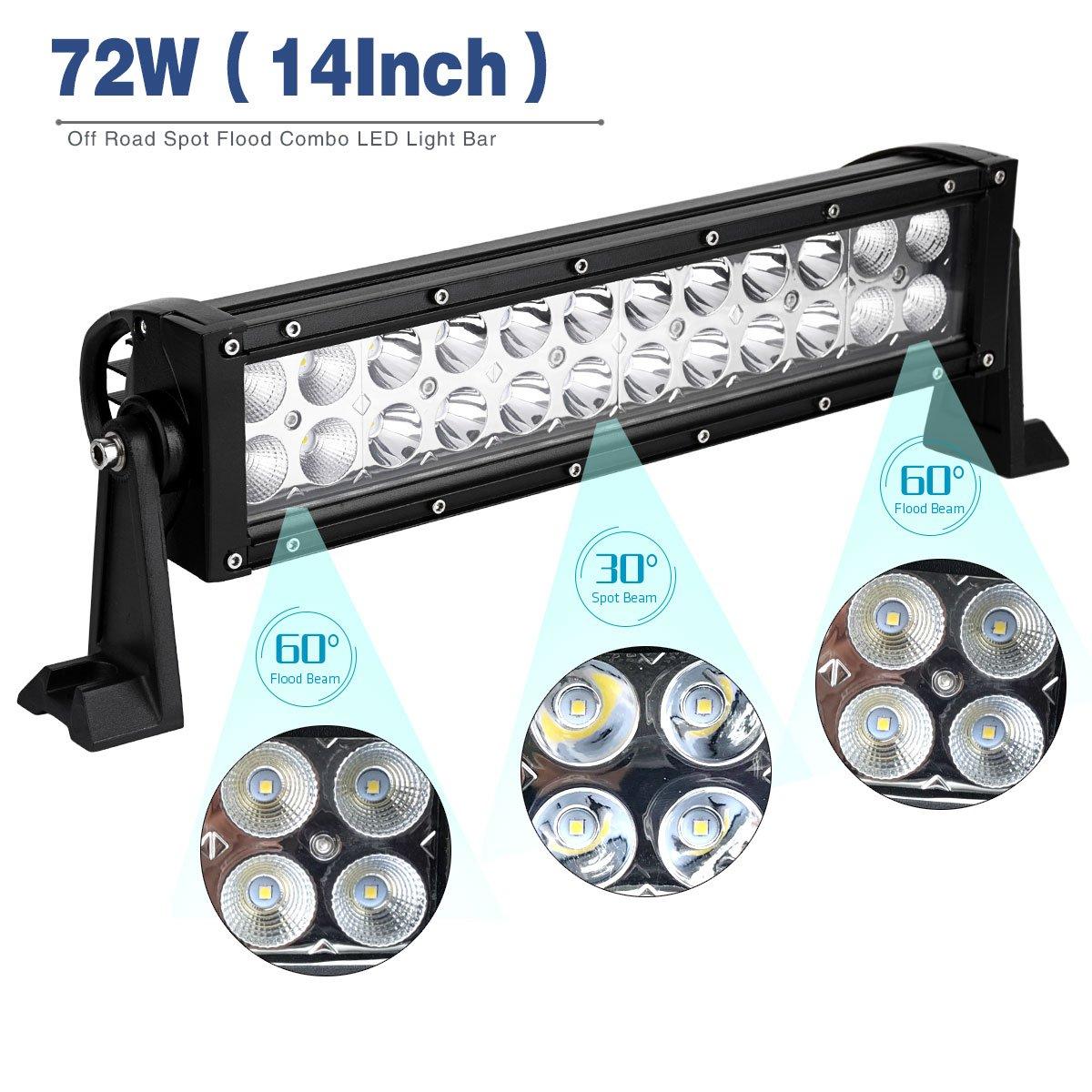 Amazon.com: LED Light Bar,YITAMOTOR 2PCS 14 inch 72W LED Light Pod ...