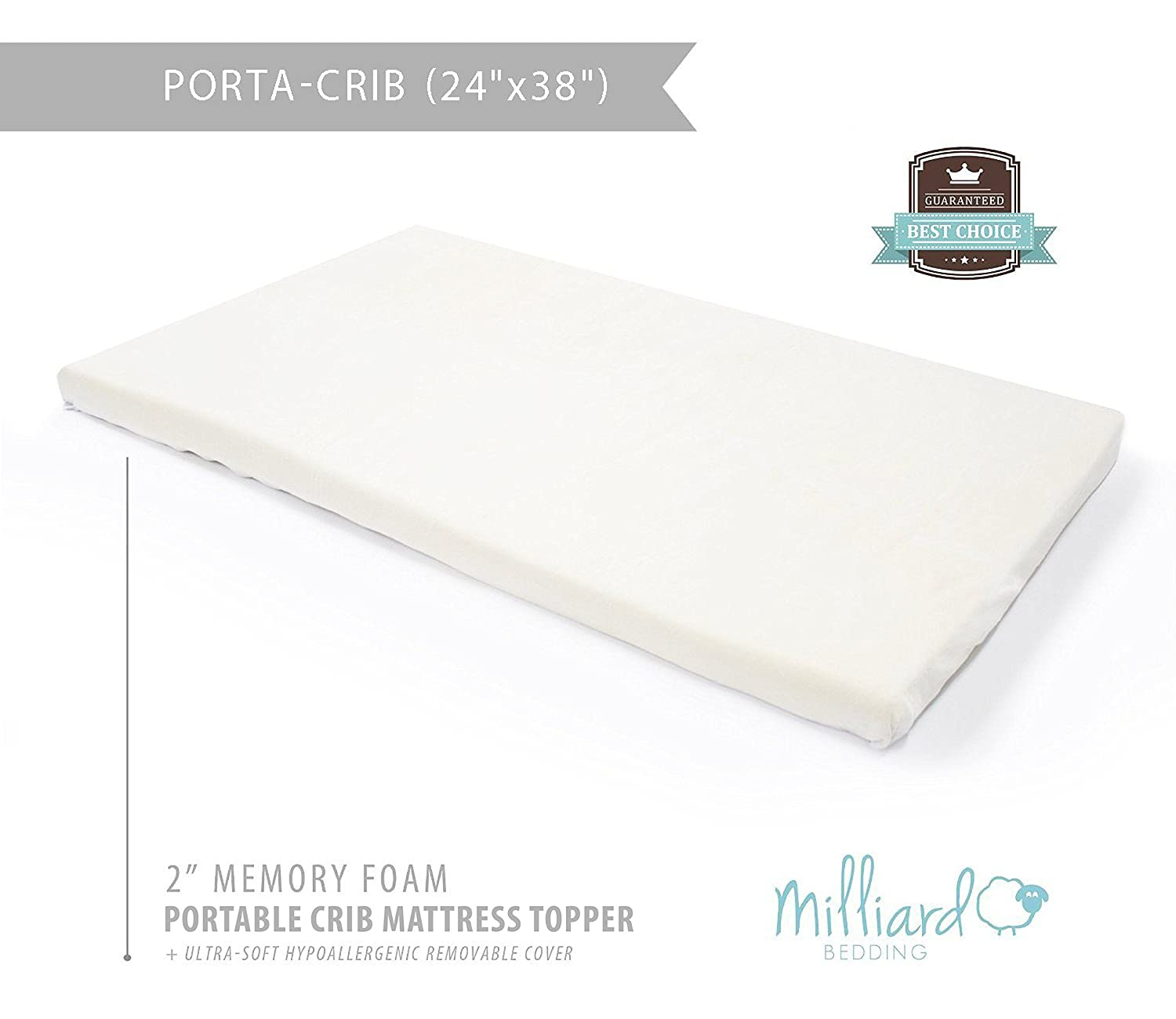 "Amazon.com : Milliard Portable Crib Mattress Topper - 2in. Ventilated  Memory Foam with Removable Waterproof 65-Percent Cotton Non-Slip Cover -  38"" x 24"" x ..."
