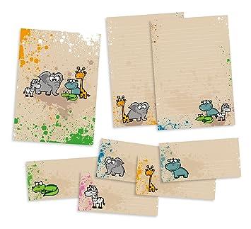 Juego papel de carta para niños, animales de safari, bloc de ...