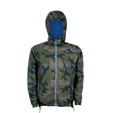 SOLS Skate Unisex Hooded Water Resistant Windbreaker Jacket (3XL)  (Camo/Royal Blue